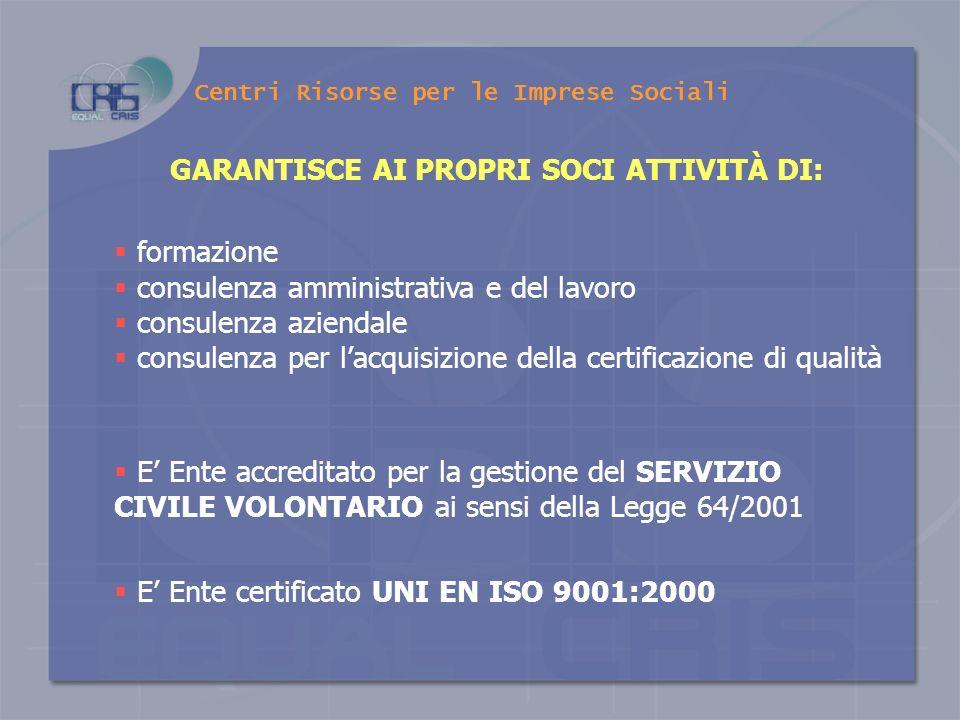 Centri Risorse per le Imprese Sociali Nasce nel 1989 grazie ad unazione di promozione della CONFCOOPERATIVE di Basilicata UN PO DI STORIA… E presente,