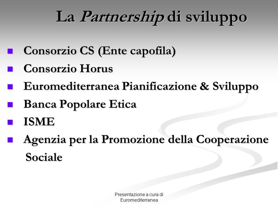 Presentazione a cura di Euromediterranea La Partnership di sviluppo Consorzio CS (Ente capofila) Consorzio CS (Ente capofila) Consorzio Horus Consorzi