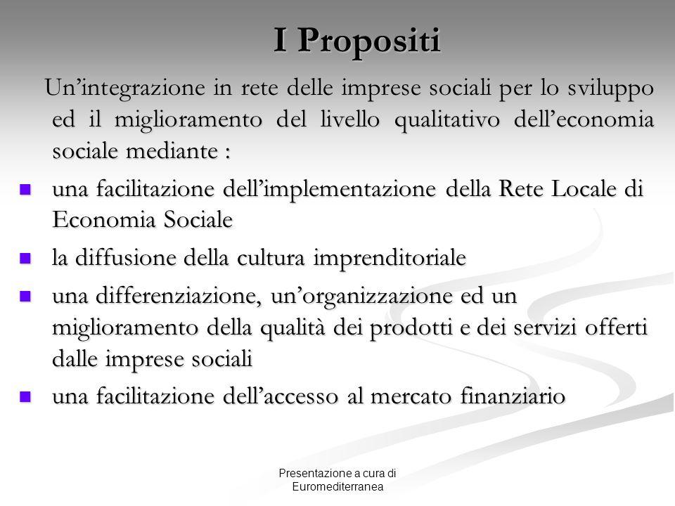 Presentazione a cura di Euromediterranea I Propositi Unintegrazione in rete delle imprese sociali per lo sviluppo ed il miglioramento del livello qual