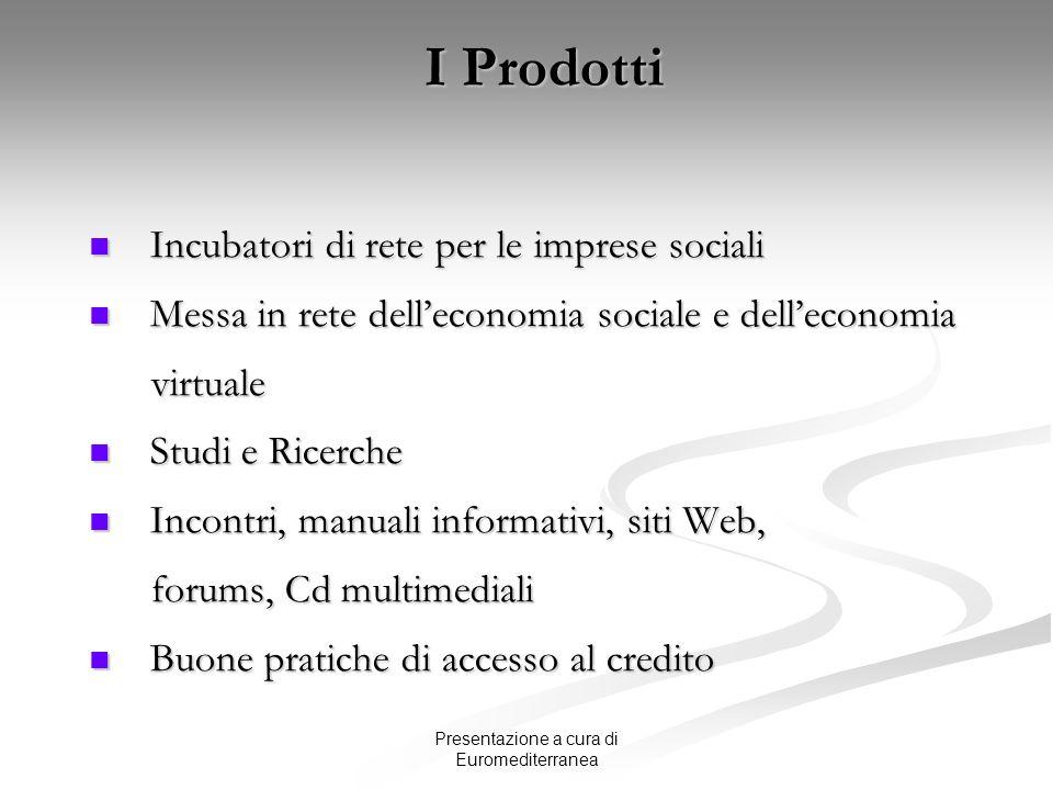 Presentazione a cura di Euromediterranea I Prodotti Incubatori di rete per le imprese sociali Incubatori di rete per le imprese sociali Messa in rete