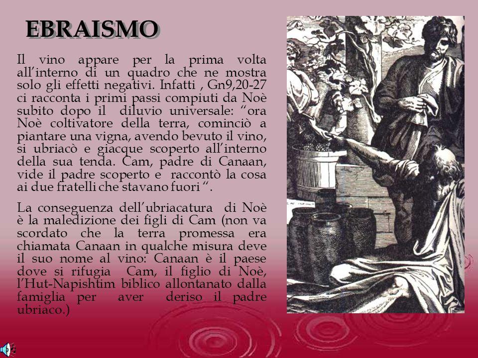 EBRAISMO Il vino appare per la prima volta allinterno di un quadro che ne mostra solo gli effetti negativi. Infatti, Gn9,20-27 ci racconta i primi pas