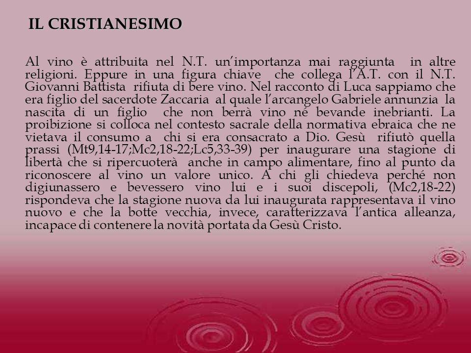 Al vino è attribuita nel N.T. unimportanza mai raggiunta in altre religioni. Eppure in una figura chiave che collega lA.T. con il N.T. Giovanni Battis