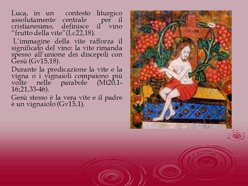 Luca, in un contesto liturgico assolutamente centrale per il cristianesimo, definisce il vino frutto della vite(Lc22,18). Limmagine della vite rafforz