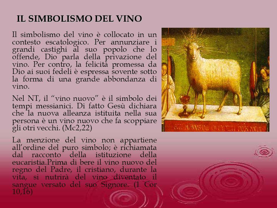 Il simbolismo del vino è collocato in un contesto escatologico. Per annunziare i grandi castighi al suo popolo che lo offende, Dio parla della privazi