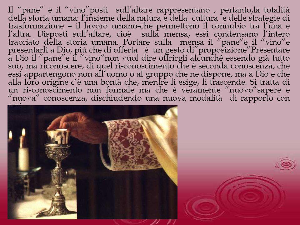 Il pane e il vinoposti sullaltare rappresentano, pertanto,la totalità della storia umana: linsieme della natura e della cultura e delle strategie di t