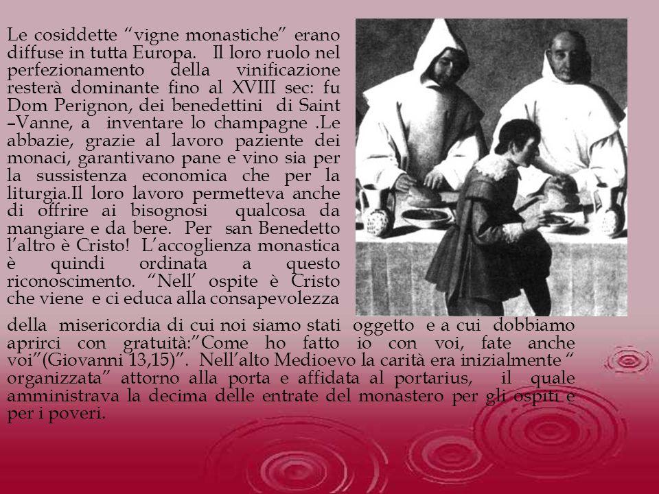 Le cosiddette vigne monastiche erano diffuse in tutta Europa. Il loro ruolo nel perfezionamento della vinificazione resterà dominante fino al XVIII se