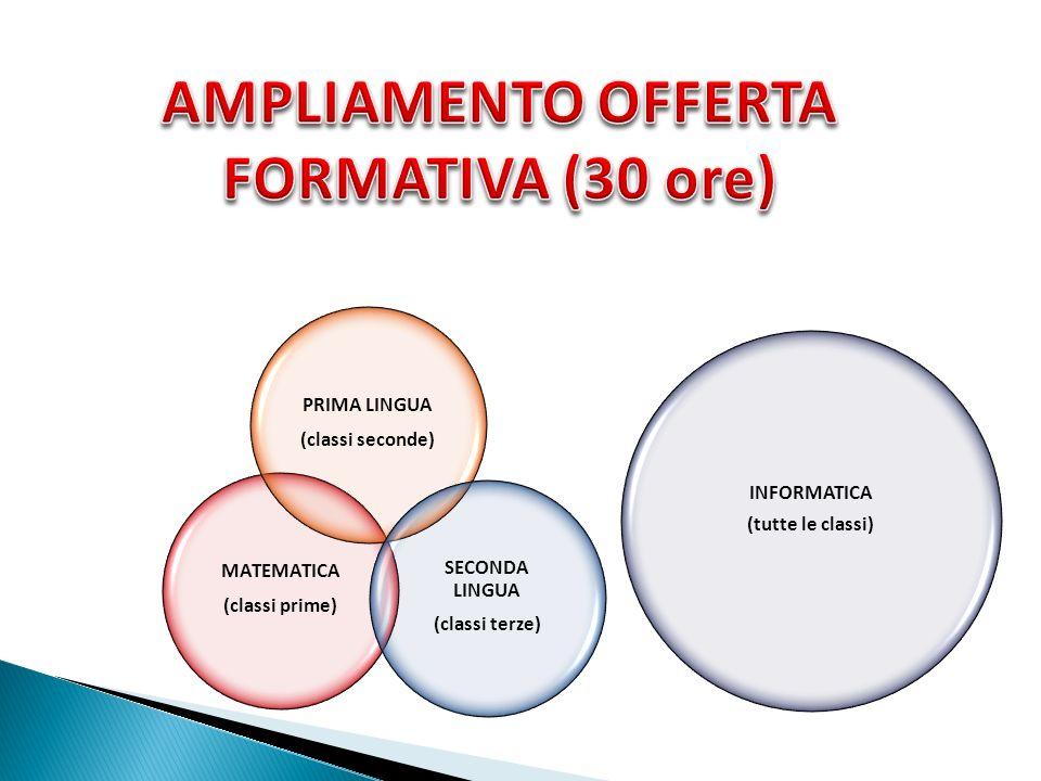 MATEMATICA (classi prime) PRIMA LINGUA (classi seconde) SECONDA LINGUA (classi terze) INFORMATICA (tutte le classi)