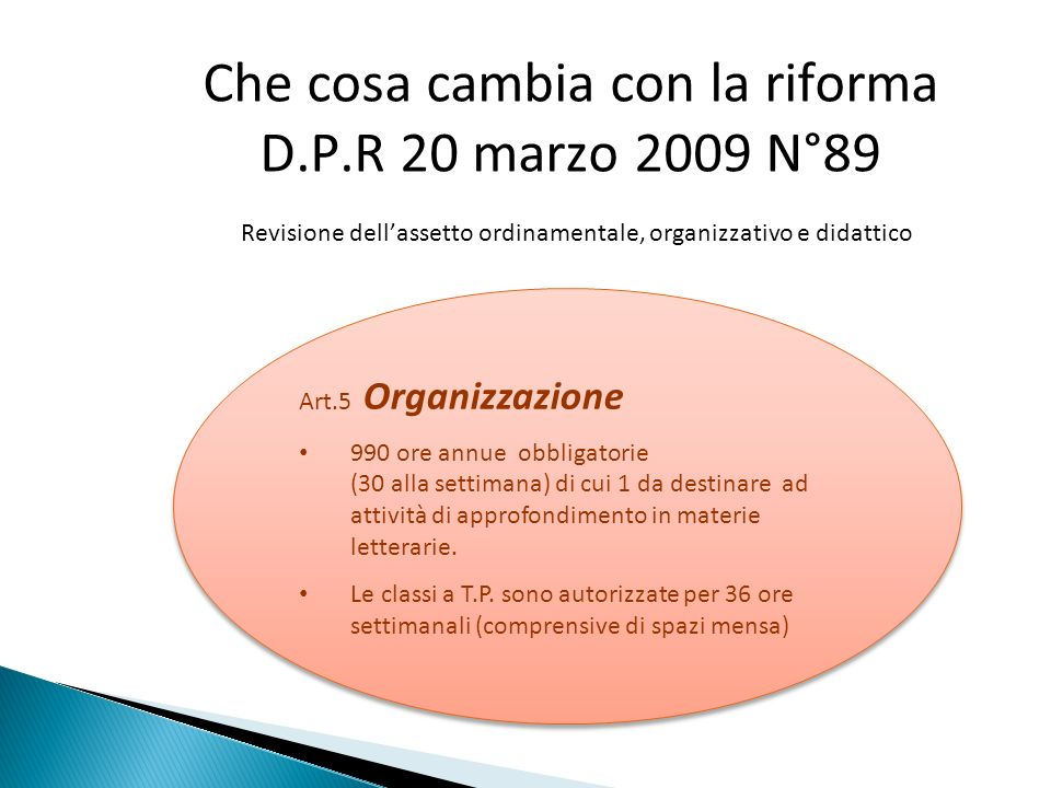 Che cosa cambia con la riforma D.P.R 20 marzo 2009 N°89 Revisione dellassetto ordinamentale, organizzativo e didattico Art.5 Organizzazione 990 ore an