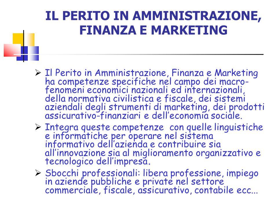IL PERITO IN AMMINISTRAZIONE, FINANZA E MARKETING Il Perito in Amministrazione, Finanza e Marketing ha competenze specifiche nel campo dei macro- feno