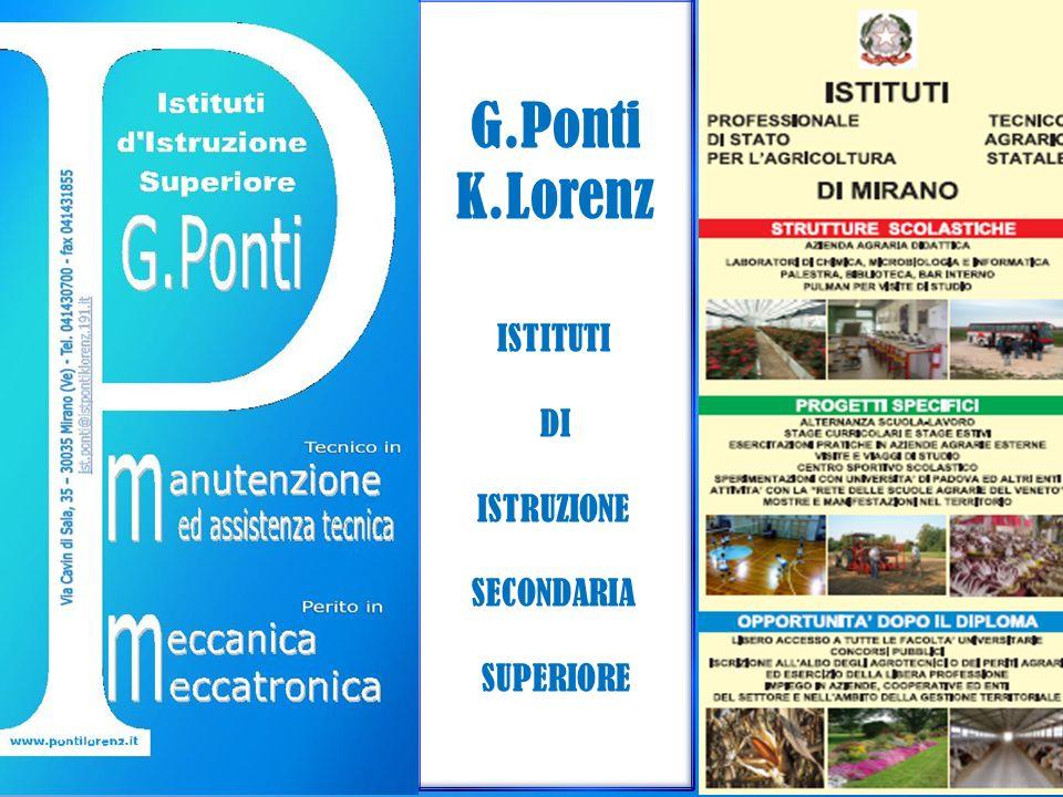 ISTITUTI DI ISTRUZIONE SECONDARIA SUPERIORE G.PONTI-K.LORENZ PERCORSI FORMATIVI OFFERTI PROFESSIONALE G.PONTI TECNICO G.PONTI PROFESSIONALE K.LORENZ FILIERA MECCANICA ELETTRICA ELETTRONICA TITOLO DI STUDIO DIPLOMA DI TECNICO (Dopo il 5°anno) SERVIZI PER LAGRICOLTURA E LO SVILUPPO RURALE AGROAMBENTALE TITOLO DI STUDIODIPLOMA DI TECNICO(Dopo il 5° anno) INDIRIZZO: MECCANICA, MECCATRO NICA ED ENERGIA ARTICOLAZIONE: MECCANICA e MECCATRONICA TITOLO DI STUDIO DIPLOMA DI PERITO (Dopo il 5° anno) INDIRIZZO: TECNICA AGRARIA ARTICOLAZIONE: PRODUZIONI e TRASFORMAZIONI TITOLO DI STUDIO DIPLOMA DI PERITO (Dopo il 5° anno) TECNICO K.LORENZ ManutenzioneManutenzione AssistenzaAssistenza TecnicaTecnica