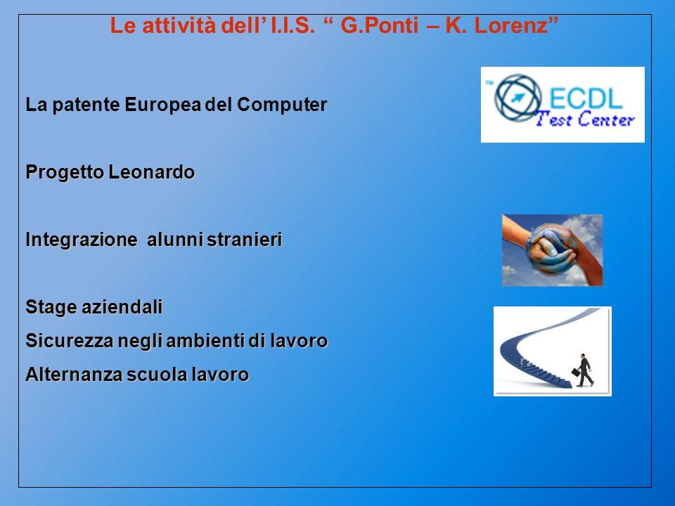Le attività dell I.I.S. G.Ponti – K. Lorenz La patente Europea del Computer Progetto Leonardo Integrazione alunni stranieri Stage aziendali Sicurezza