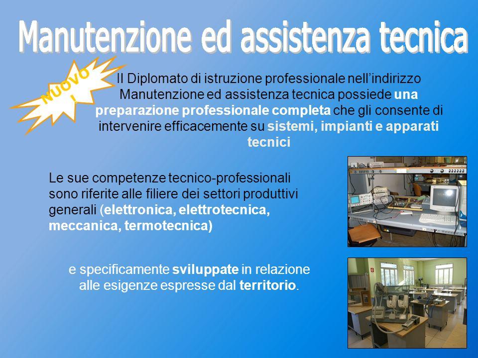 NUOVO ! Il Diplomato di istruzione professionale nellindirizzo Manutenzione ed assistenza tecnica possiede una preparazione professionale completa che