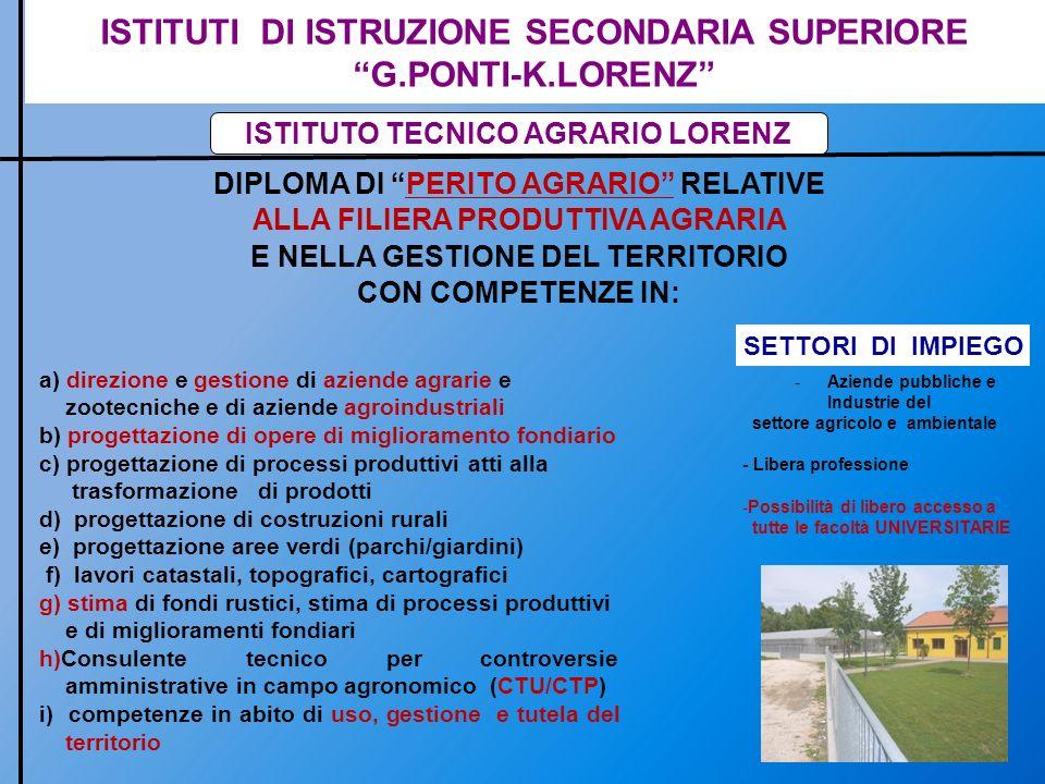 ISTITUTI DI ISTRUZIONE SECONDARIA SUPERIORE G.PONTI-K.LORENZ ISTITUTO PROFESSIONALE LORENZ DIPLOMA DI STATO DI AGROTECNICO FILIERA SI POSIZIONA ALLINTERNO DELLA FILIERA PRODUTTIVA AGRARIA E AGROAMBIENTALE CON COMPETENZE IN: a)direzione e gestione di aziende agrarie e zootecniche e di aziende agroindustriali b) direzione di opere di miglioramento fondiario c) direzione e gestione dei processi produttivi atti alla trasformazione di prodotti d) direzione e gestione di aree verdi (parchi/giardini) e) analisi dei costi e dei benefici di produzione f) analisi di mercato e predisposizione di piani di marketing aziendale g) commercializzazione dei prodotti agrari e agroindustriali h) consulente tecnico per controversie amministrative in campo agronomico (CTU/CTP) i) competenze in ambito agro-ambientale SETTORI DI IMPIEGO -Aziende pubbliche e Industrie del settore agricolo e ambientale - Libera professione -Possibilità di libero accesso a tutte le facoltà UNIVERSITARIE