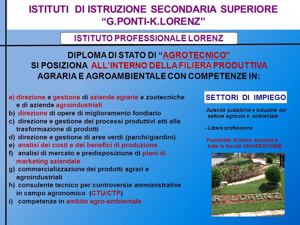 ISTITUTI DI ISTRUZIONE SECONDARIA SUPERIORE G.PONTI-K.LORENZ ISTITUTO PROFESSIONALE LORENZ DIPLOMA DI STATO DI AGROTECNICO FILIERA SI POSIZIONA ALLINT