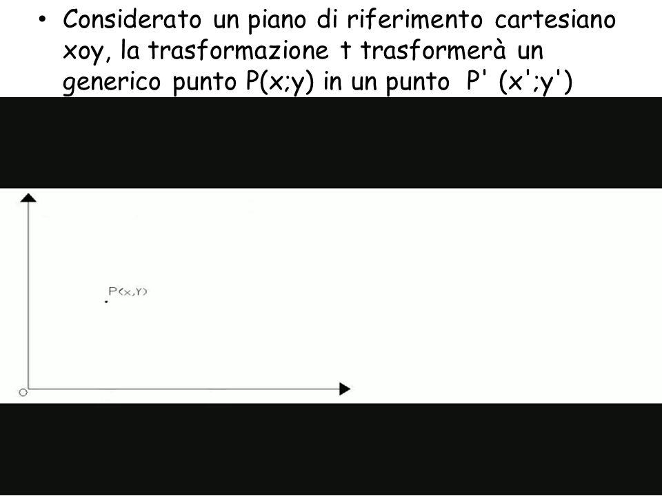 Considerato un piano di riferimento cartesiano xoy, la trasformazione t trasformerà un generico punto P(x;y) in un punto P' (x';y')