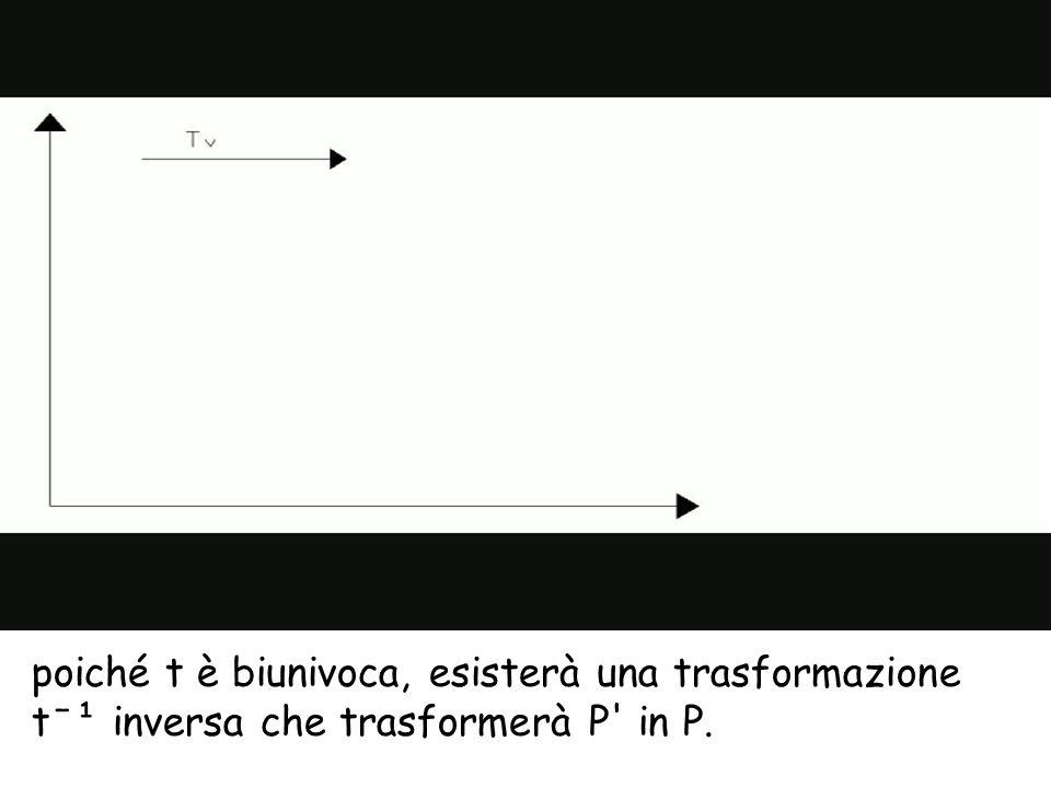poiché t è biunivoca, esisterà una trasformazione tˉ¹ inversa che trasformerà P' in P.