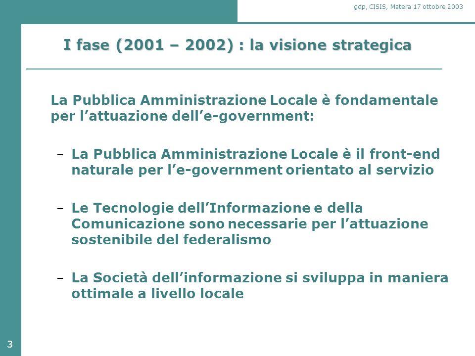 14 gdp, CISIS, Matera 17 ottobre 2003 La visione condivisa Il quadro di riferimento tecnologico ed organizzativo si articola a tre diversi livelli: 1.