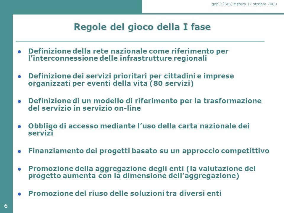 27 gdp, CISIS, Matera 17 ottobre 2003 Lobiettivo della seconda fase Obiettivo principale è lallargamento alla maggior parte delle amministrazioni locali dei processi di innovazione già avviati, sia per ciò che riguarda la realizzazione dei servizi per cittadini e imprese, sia per ciò che riguarda la realizzazione di servizi infrastrutturali in tutte le regioni italiane.