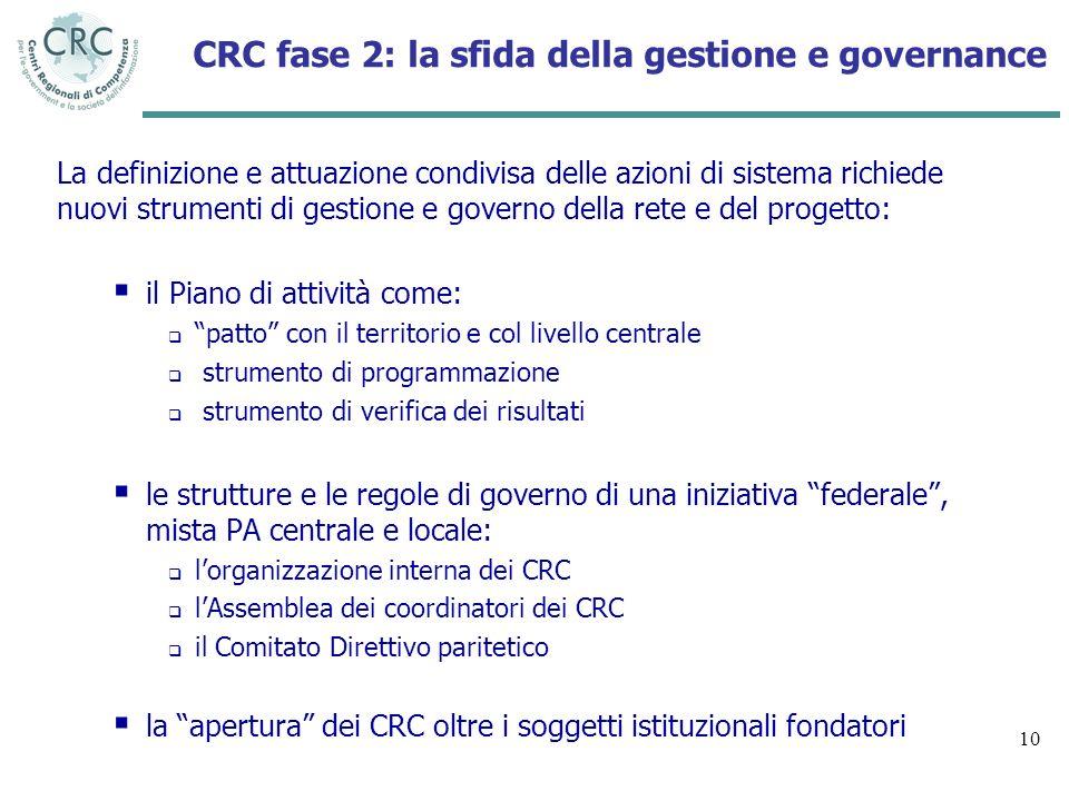 10 CRC fase 2: la sfida della gestione e governance La definizione e attuazione condivisa delle azioni di sistema richiede nuovi strumenti di gestione