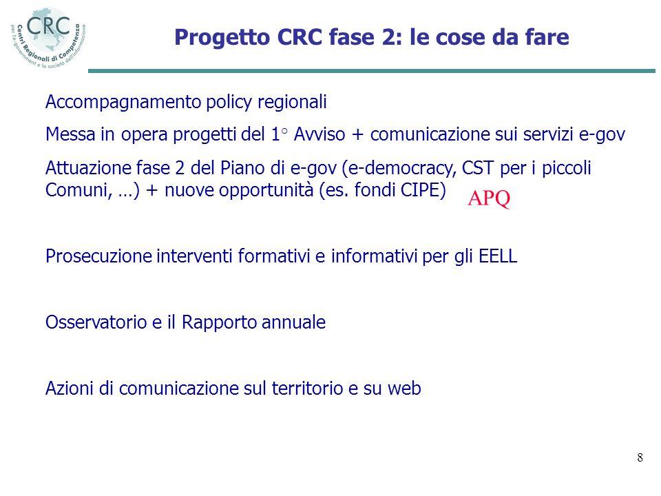 8 Accompagnamento policy regionali Messa in opera progetti del 1° Avviso + comunicazione sui servizi e-gov Attuazione fase 2 del Piano di e-gov (e-dem