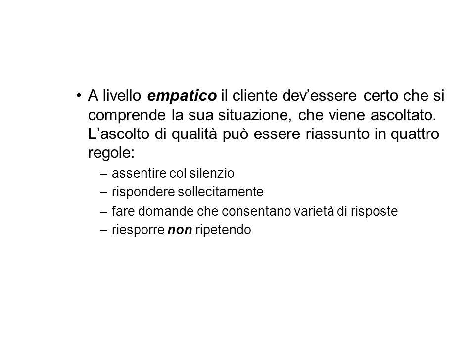 A livello empatico il cliente devessere certo che si comprende la sua situazione, che viene ascoltato.
