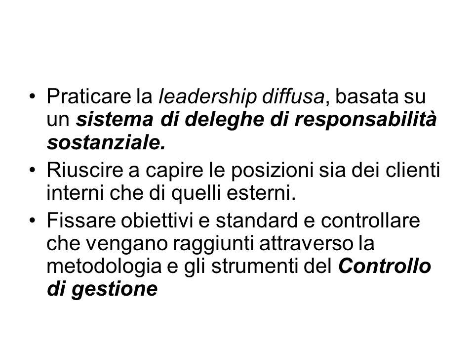 Praticare la leadership diffusa, basata su un sistema di deleghe di responsabilità sostanziale.
