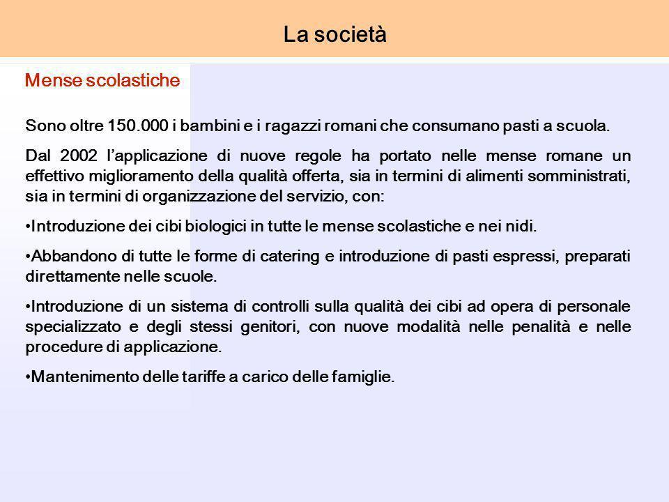 Sono oltre 150.000 i bambini e i ragazzi romani che consumano pasti a scuola.
