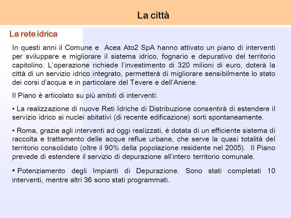In questi anni il Comune e Acea Ato2 SpA hanno attivato un piano di interventi per sviluppare e migliorare il sistema idrico, fognario e depurativo del territorio capitolino.
