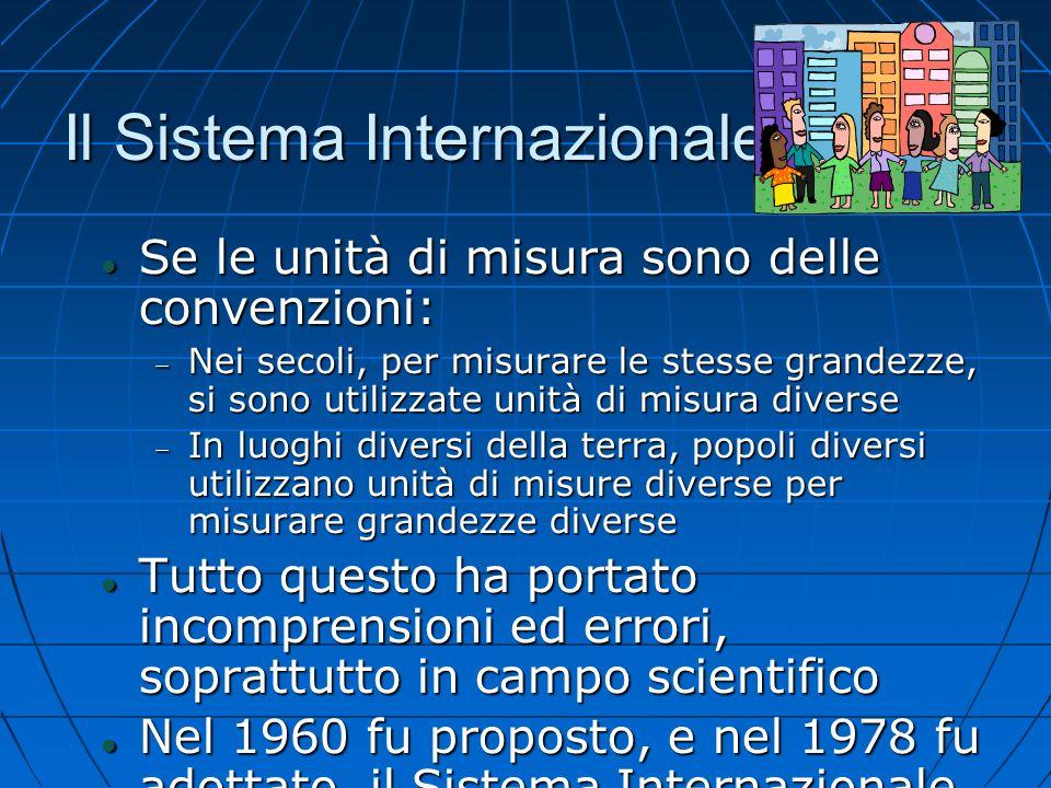 Il Sistema Internazionale Se le unità di misura sono delle convenzioni: Se le unità di misura sono delle convenzioni: Nei secoli, per misurare le stes