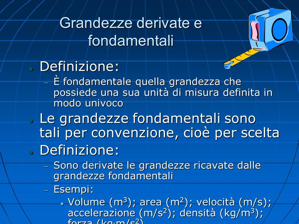 Grandezze derivate e fondamentali Definizione: Definizione: È fondamentale quella grandezza che possiede una sua unità di misura definita in modo univ