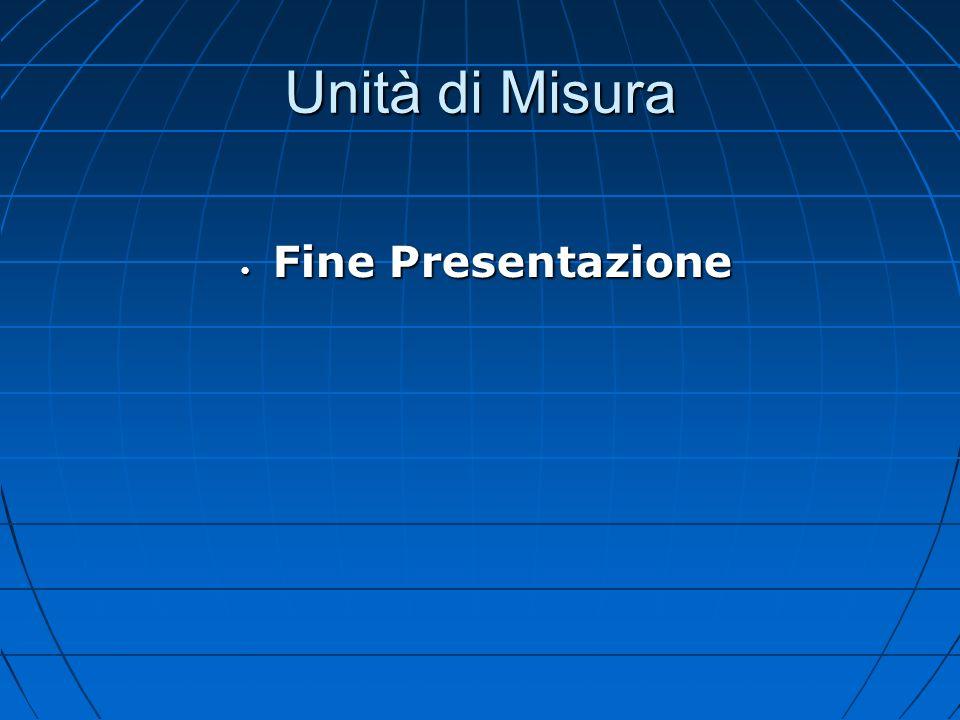 Unità di Misura Fine Presentazione Fine Presentazione