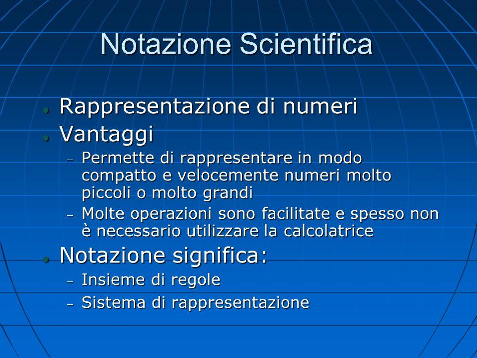 Notazione Scientifica Rappresentazione di numeri Rappresentazione di numeri Vantaggi Vantaggi Permette di rappresentare in modo compatto e velocemente