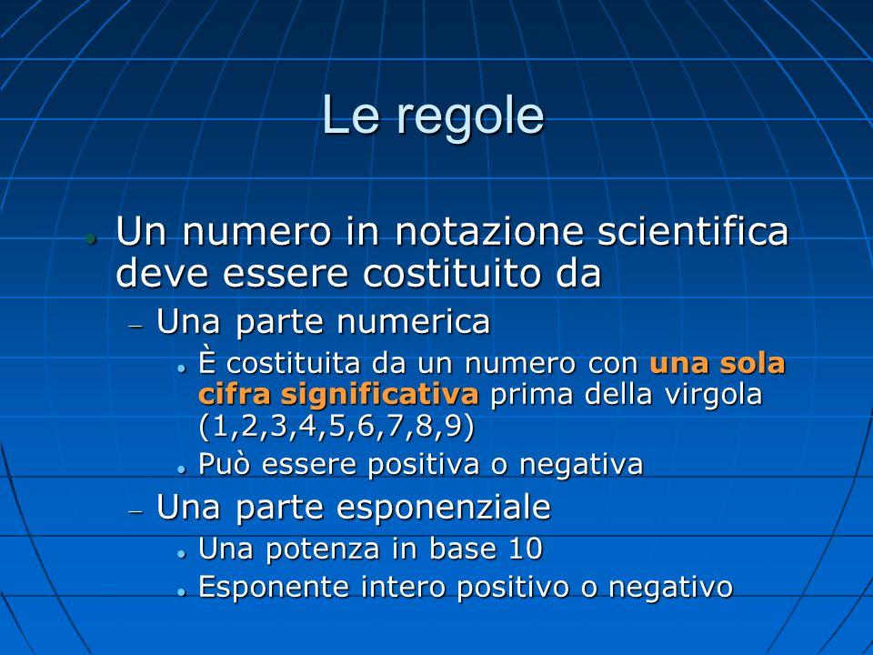 Le regole Un numero in notazione scientifica deve essere costituito da Un numero in notazione scientifica deve essere costituito da Una parte numerica