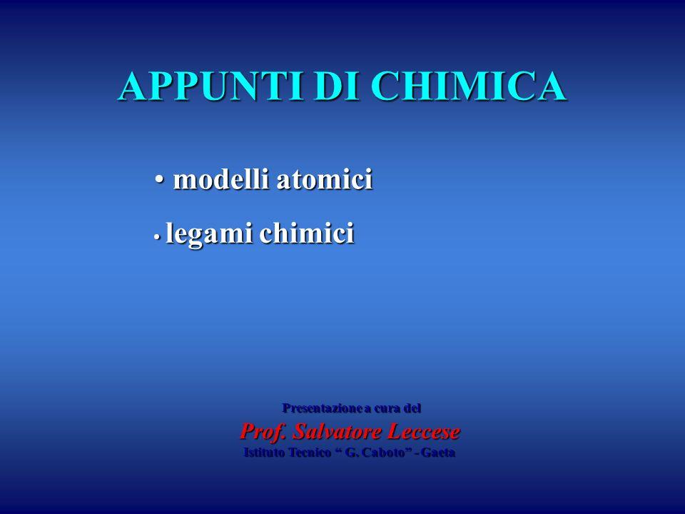 APPUNTI DI CHIMICA legami chimici legami chimici modelli atomici modelli atomici Presentazione a cura del Presentazione a cura del Prof. Salvatore Lec