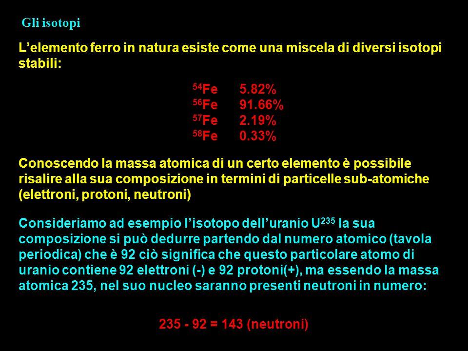Gli isotopi Conoscendo la massa atomica di un certo elemento è possibile risalire alla sua composizione in termini di particelle sub-atomiche (elettro