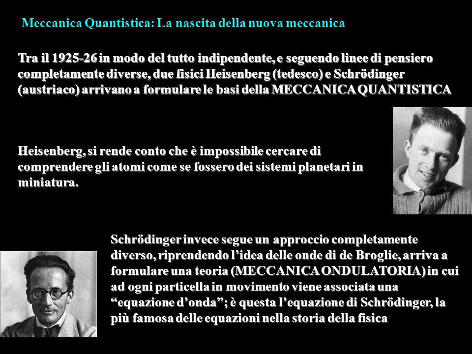Meccanica Quantistica: La nascita della nuova meccanica Tra il 1925-26 in modo del tutto indipendente, e seguendo linee di pensiero completamente dive
