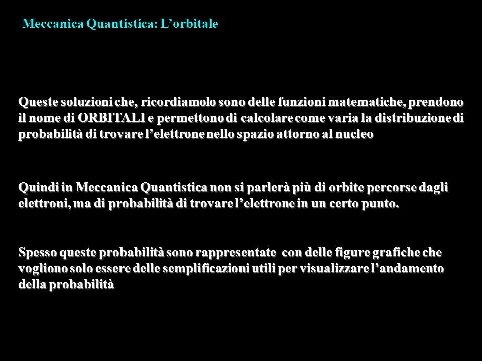 Meccanica Quantistica: Lorbitale Queste soluzioni che, ricordiamolo sono delle funzioni matematiche, prendono il nome di ORBITALI e permettono di calc