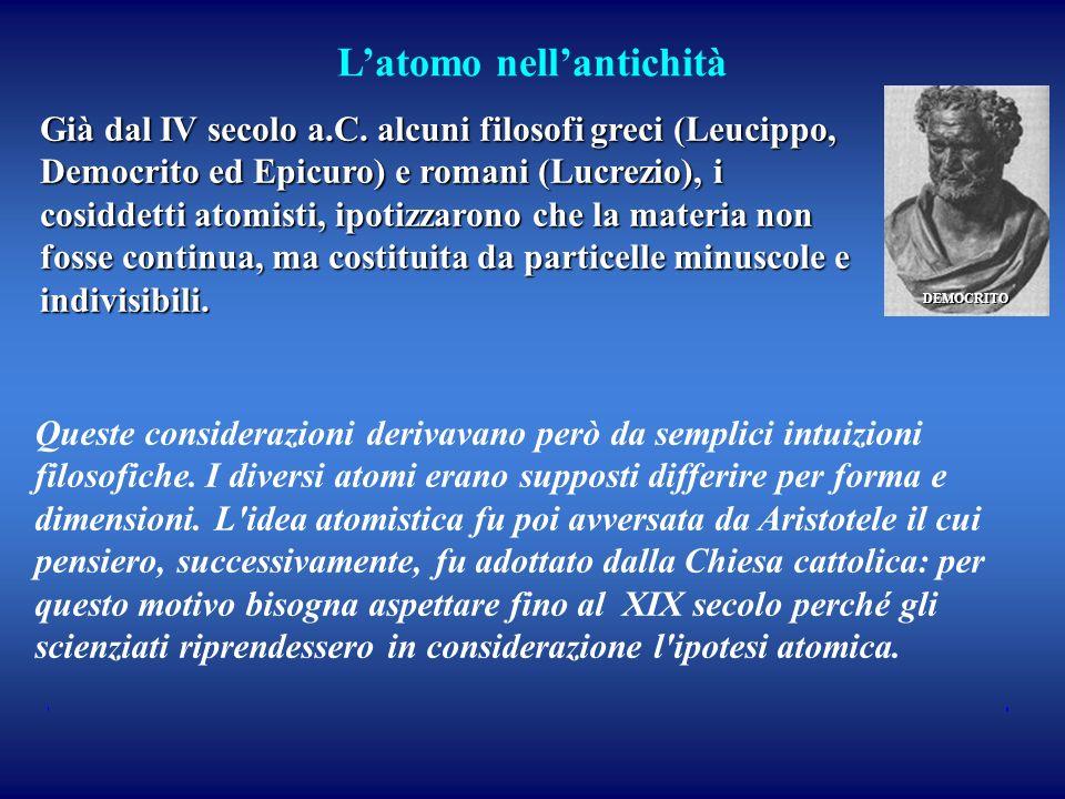Latomo nellantichità Già dal IV secolo a.C. alcuni filosofi greci (Leucippo, Democrito ed Epicuro) e romani (Lucrezio), i cosiddetti atomisti, ipotizz