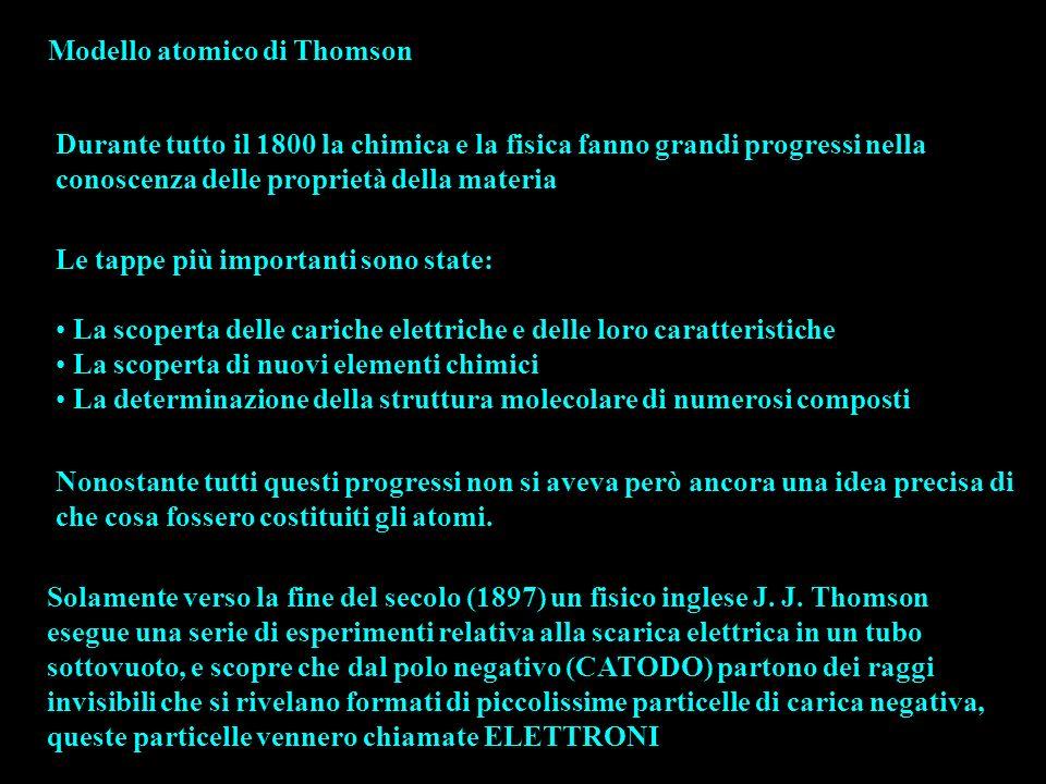 Modello atomico di Thomson Durante tutto il 1800 la chimica e la fisica fanno grandi progressi nella conoscenza delle proprietà della materia Le tappe