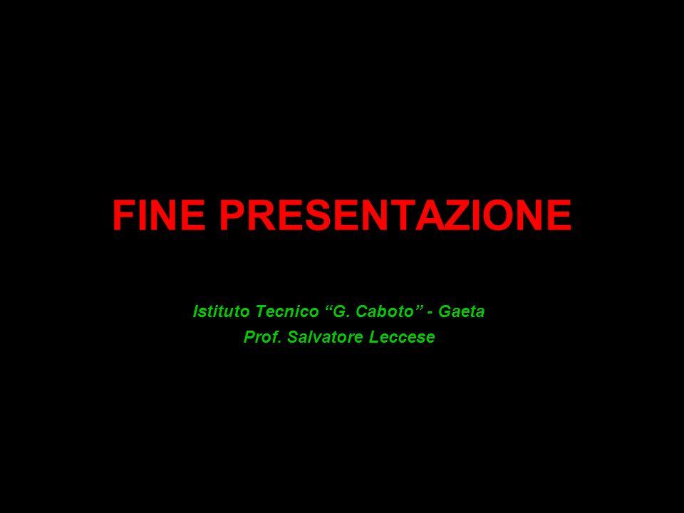 FINE PRESENTAZIONE Istituto Tecnico G. Caboto - Gaeta Prof. Salvatore Leccese