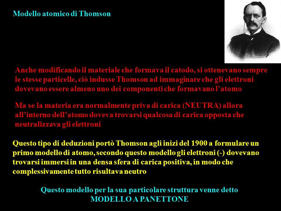 Modello atomico di Thomson Anche modificando il materiale che formava il catodo, si ottenevano sempre le stesse particelle, ciò indusse Thomson ad imm