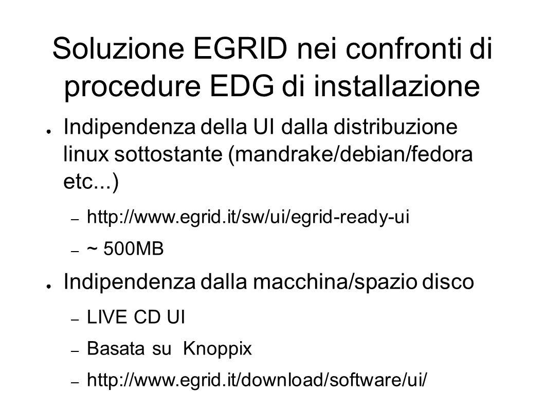Soluzione EGRID nei confronti di procedure EDG di installazione Indipendenza della UI dalla distribuzione linux sottostante (mandrake/debian/fedora etc...) – http://www.egrid.it/sw/ui/egrid-ready-ui – ~ 500MB Indipendenza dalla macchina/spazio disco – LIVE CD UI – Basata su Knoppix – http://www.egrid.it/download/software/ui/