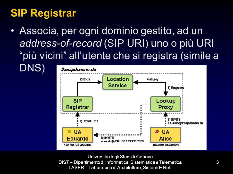 Università degli Studi di Genova DIST – Dipartimento di Informatica, Sistemistica e Telematica LASER – Laboratorio di Architetture, Sistemi E Reti 3 SIP Registrar Associa, per ogni dominio gestito, ad un address-of-record (SIP URI) uno o più URI più vicini allutente che si registra (simile a DNS)