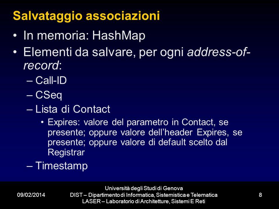 09/02/2014 Università degli Studi di Genova DIST – Dipartimento di Informatica, Sistemistica e Telematica LASER – Laboratorio di Architetture, Sistemi E Reti 9 Classi suggerite Registrar (SIPServer) Contact (per gestire expires di ogni contact) Binding (per gestire Call-ID, CSeq ed Expires) TimerTask (per controllare la validità delle associazioni) Test Jitsi, http://jitsi.org/index.php/Main/Download http://jitsi.org/index.php/Main/Download