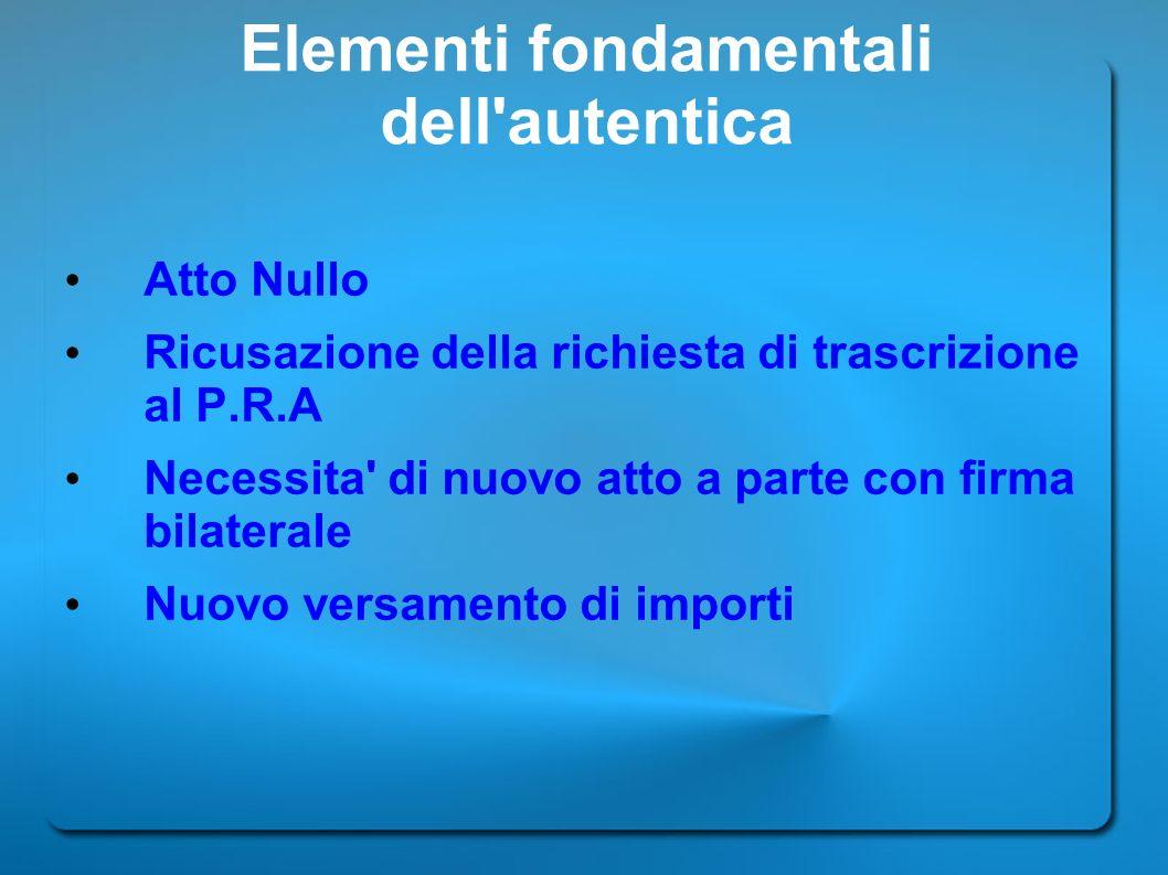 Elementi fondamentali dell'autentica Atto Nullo Ricusazione della richiesta di trascrizione al P.R.A Necessita' di nuovo atto a parte con firma bilate