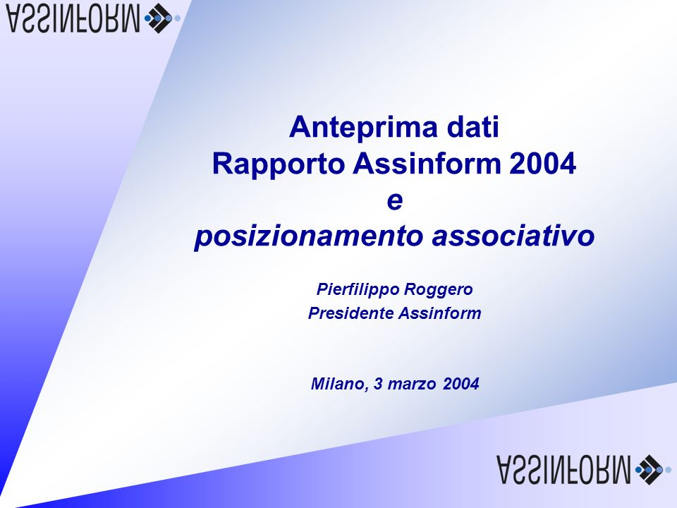 Rapporto Assinform 2004 3 marzo 2004 – Slide 29 Trend di medio periodo del mercato ICT e-Government Mobilità business e individuale Home entertainment