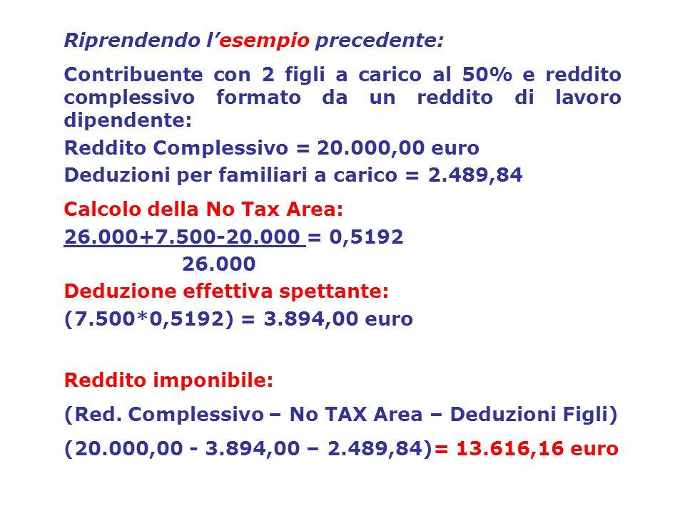 Riprendendo lesempio precedente: Contribuente con 2 figli a carico al 50% e reddito complessivo formato da un reddito di lavoro dipendente: Reddito Co