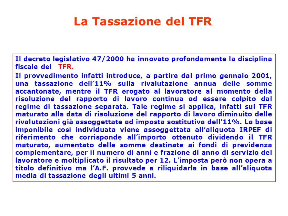 Il decreto legislativo 47/2000 ha innovato profondamente la disciplina fiscale del TFR. Il provvedimento infatti introduce, a partire dal primo gennai