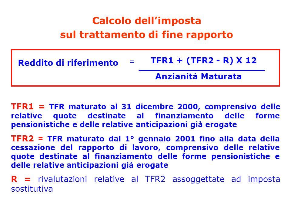 Calcolo dellimposta sul trattamento di fine rapporto Reddito di riferimento Anzianità Maturata = TFR1 + (TFR2 - R) X 12 TFR1 = TFR maturato al 31 dice