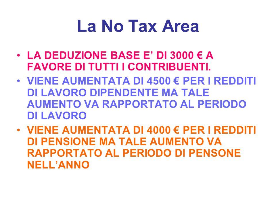 La No Tax Area LA DEDUZIONE BASE E DI 3000 A FAVORE DI TUTTI I CONTRIBUENTI. VIENE AUMENTATA DI 4500 PER I REDDITI DI LAVORO DIPENDENTE MA TALE AUMENT